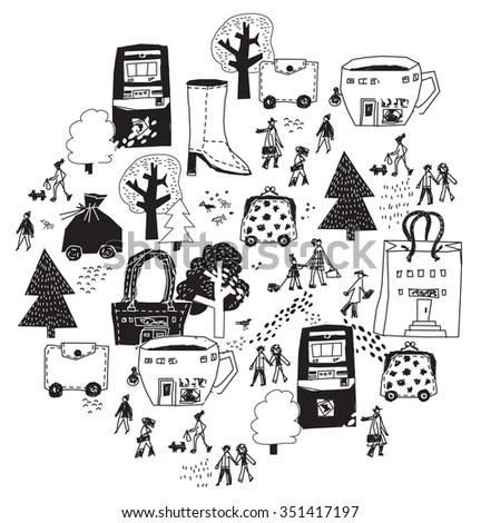Urban City shopping street isolate objects black and white. People on the street and shops. Monochrome vector illustration. EPS8 - stock vector