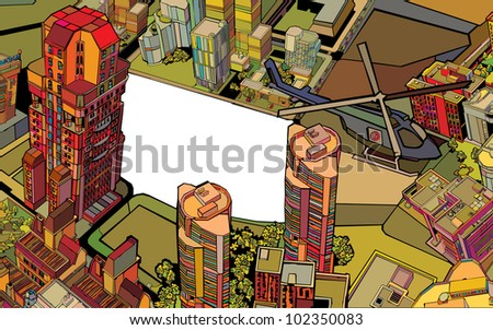 urban color city. vector illustration - stock vector