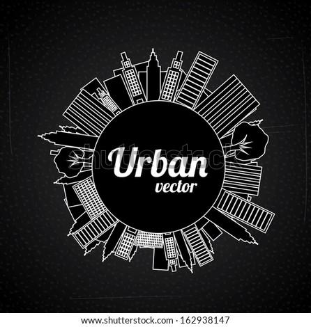urban  design over black background vector illustration - stock vector