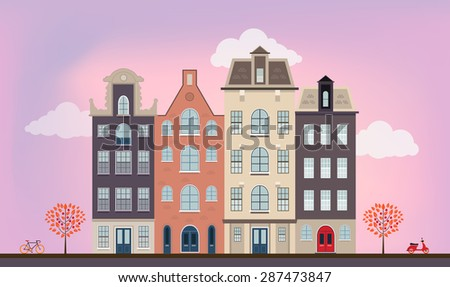 Urban european houses in different architectural styles and colors. Detailed flat vector picture. - stock vector