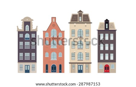 Urban european houses on the white background - stock vector