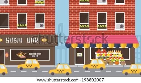 Urban facade, building exterior. Sushi bar and outdoor farm product market. Yellow taxi. Flat design vector illustration. - stock vector