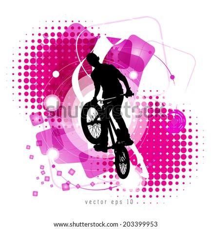 Urban grunge background design with bmx biker silhouette. - stock vector
