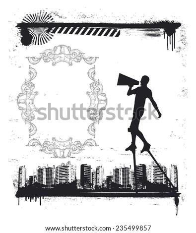 urban grunge scene with actor on stilts - stock vector