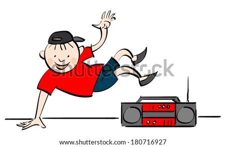 urban hip hop break dance dancer  - stock vector