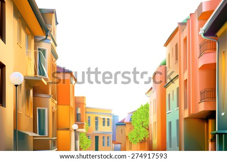 Urban landscape, a typical residential street of the provincial town, vector illustration, cozy houses in the background, beautiful city views in a lovely sunny day - stock vector