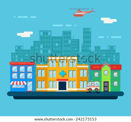 Urban Landscape Hospital Shop Residential House City Street Background Flat Design Vector Illustration - stock vector