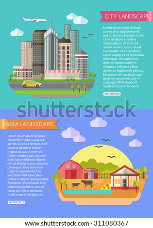 Urban Landscape illustration with road, tall buildings, skyscrapers, car, bicycle, plane. Farm Landscape illustration with fields, farmhouse, pond, farm animals.Flat style design. Vector illustration - stock vector