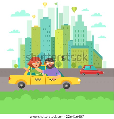 Urban landscape in flat design. Happy people in a taxi cab and buildings on background. Vector colorful illustration in modern colors isolated on white - stock vector