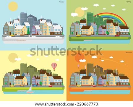 Urban landscape of four seasons - stock vector