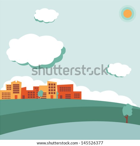Urban landscape, retro colored - stock vector