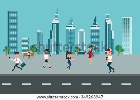 Urban landscape. Skyscrapers and People using smart phone. Modern lifestyle. Technology communications concept. Cartoon Vector Illustration. - stock vector
