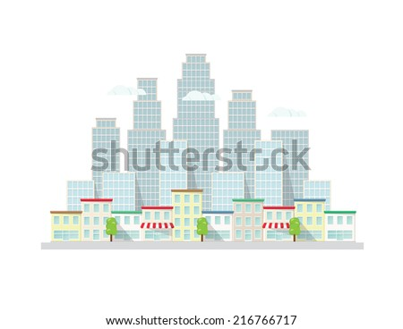 Urban landscape. Vector illustration. - stock vector