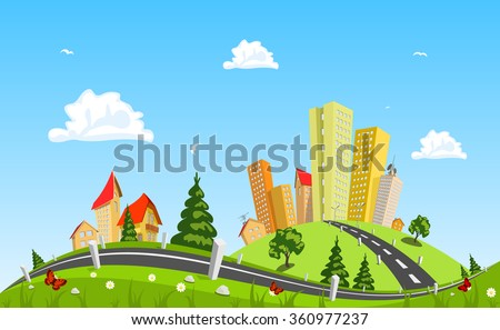 Urban landscape vector illustration - stock vector