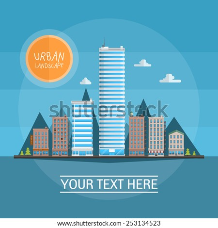 Urban Landscape. Vector illustration of flat style - stock vector
