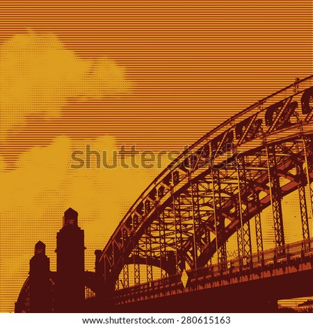 urban landscape with old iron bridge and clouds. vector illustration - stock vector