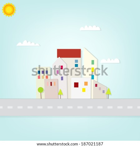 urban landscape with road - stock vector