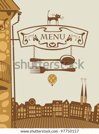urban landscape with sign for restaurant and cat - stock vector