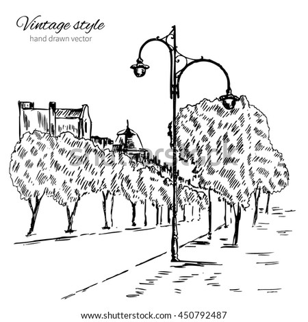Urban outline ink sketch, walking city european street with street lamps, Monochrome hand drawn vintage vector illustration isolated on white background, touristic postcard, poster, calendar template - stock vector