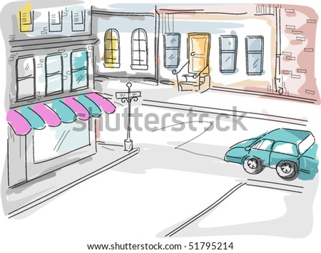 Urban Scene - Vector - stock vector