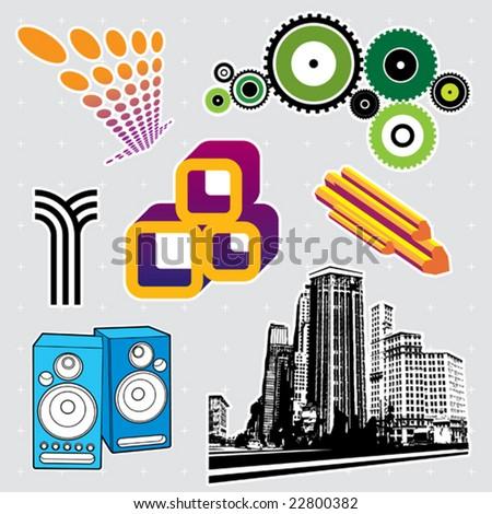 Urban series: editable design elements (21) - stock vector
