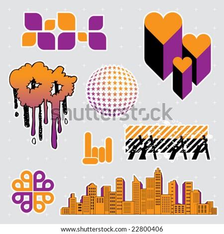 Urban series: editable design elements (13) - stock vector