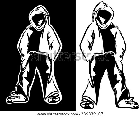 urban street style guy - young man wearing hoodie black and white vector design - stock vector