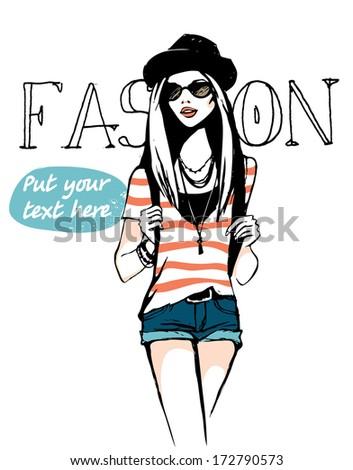 urban style girl - stock vector