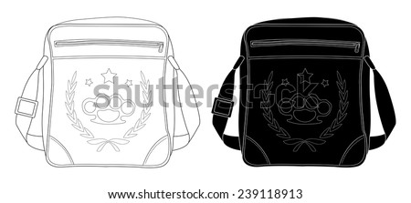 Urban teenager shoulder bag with print. Clip art black and white color vector illustration isolated on white - stock vector