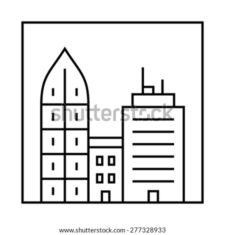 Urban vector city skyline and buildings. Cityscape icon - stock vector