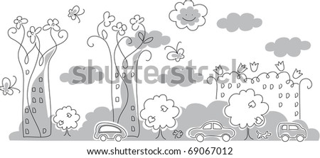 Urban view, cars, houses, trees and flowers. - stock vector