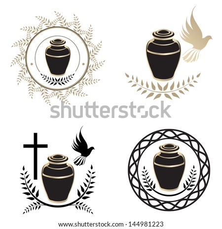 Urns Design Collection Over White Background - stock vector
