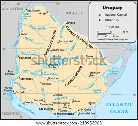 Uruguay Country Map - stock vector
