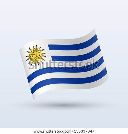 Uruguay flag waving form on gray background. Vector illustration. - stock vector