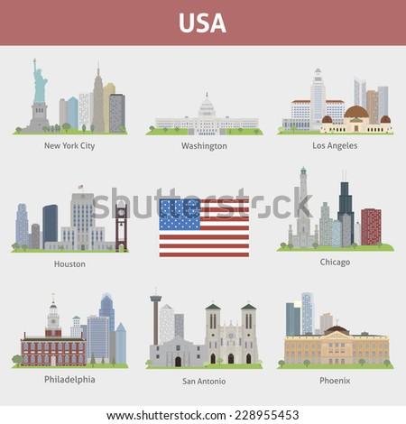 US Cities - stock vector