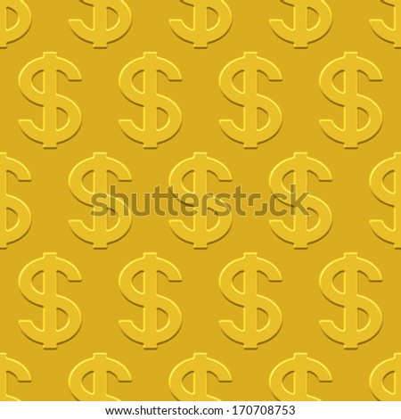 US Dollar seamless pattern on a gold plate. Pattern and background are located on different layers - stock vector