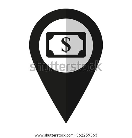 Us Dollar Vector Icon Black Map Pointer Stock Vector