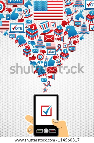 US elections online voting: hand holding a smart phone with icons splash background. Vector file layered for easy manipulation and custom coloring. - stock vector