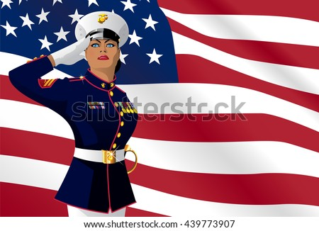 US female soldier saluting with the American Flag on the background  - stock vector
