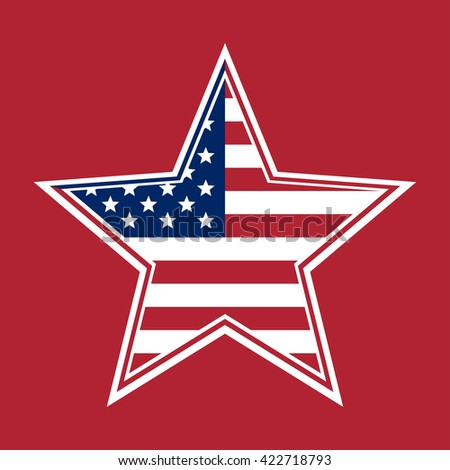 US Flag in the shape of a star. Flag of the United States of America on a red background. The Stars and Stripes. Star with the US flag inside. Vector illustration - stock vector