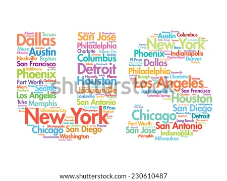 US letters with cities names words cloud, vector concept background - stock vector