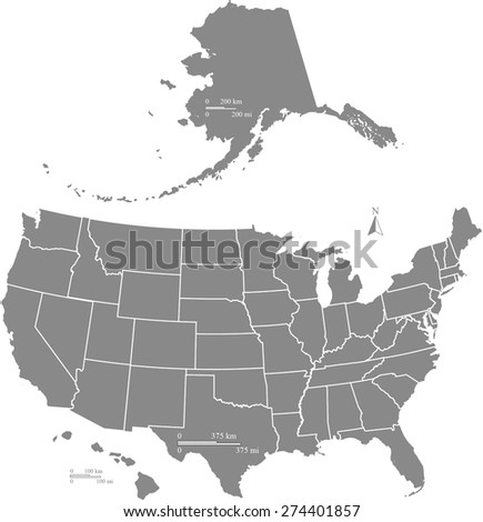 US map with kilometer and mileage scales, United States map outlines with boundaries or polygons of states, USA map in grey color - stock vector