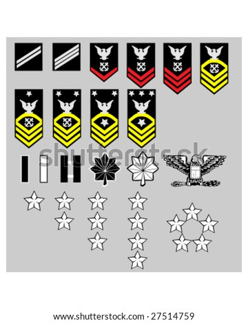 US Navy rank insignia for officers and enlisted in vector format - stock vector