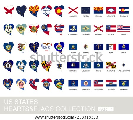 US states set, hearts and flags, 2  version, part 1 - stock vector