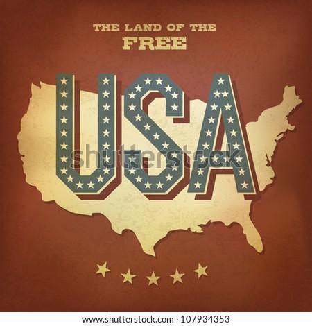USA abstract retro poster design. Vector, EPS10 - stock vector