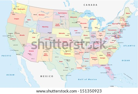 usa administrative map - stock vector