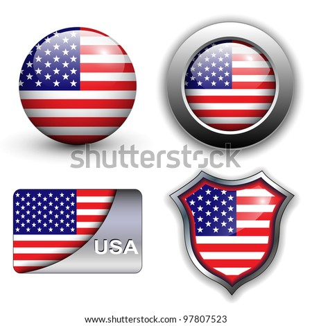 USA, american flag icons theme. - stock vector