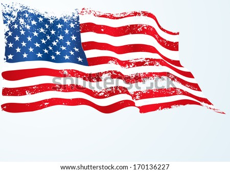 USA,American flag in grunge - stock vector