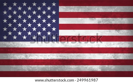 USA, American flag on concrete textured background - stock vector