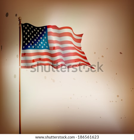 USA,American vintage flag waving - stock vector